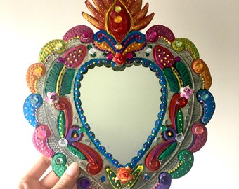 Sacred Heart tin metal mirror / Mexican folk art / bright colorful mixed media / geometric / flaming heart tin metal