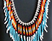 RESERVED FOR BIANCA Native American necklace,  in turquoise, orange, black, red and silver