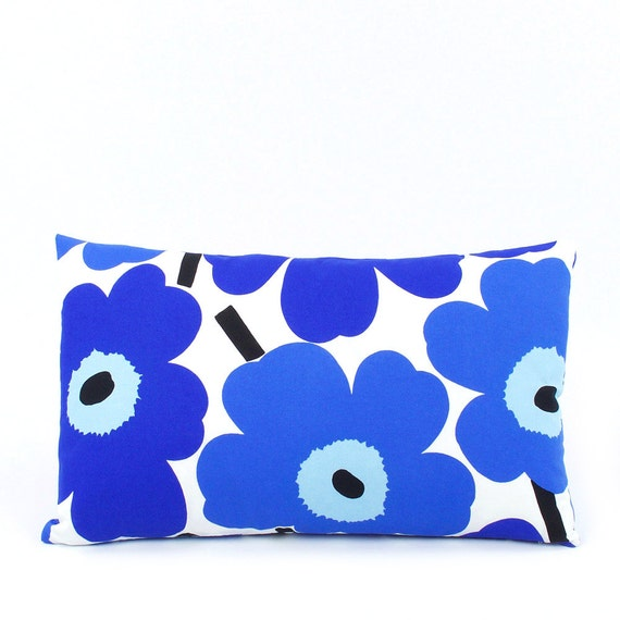 Marimekko Throw Pillow Covers : Marimekko Unikko Blue Pillow Cover 12x20 by ChloeandOliveDotCom
