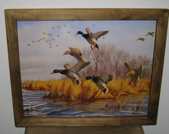 Framed Vintage Style Tin Sign Ducks Unlimited Good As Home Duck Hunting Ducks