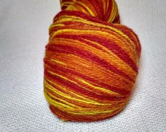 KAUNI Wool Yarn Color, Self-Striping Yarn, Flame, Red Orange Yellow