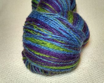 KAUNI 2ply Wool Yarn Color EFL, Self-Striping, Sport Weight, Lavanda, Dark Forest Green, Blue and Purple