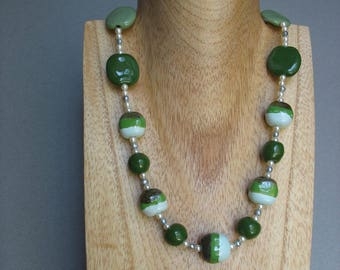 Kazuri Bead and Pearl Necklace