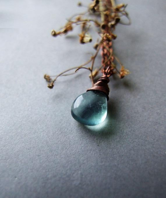 Forest Fluorite Drop Necklace, Simple Woodland Gemstone Drop Necklace, Fluorite Jewelry
