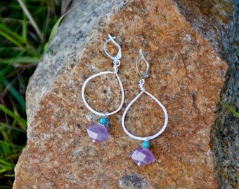 Hammered Silver Hoop Earrings with Amethyst and Turquoise