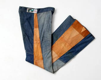 1970s Antonio Guiseppe jeans, denim and leather patchwork bell bottoms, 27 x 34