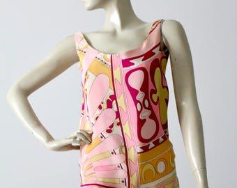 vintage Pucci blouse, 1960s silk tank top