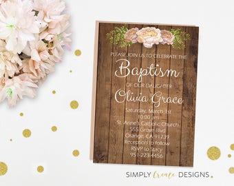 SALE Baptism Invite, Baptism Invitation, Rustic Flower Invitation 5x7 Jpeg DIGITAL File