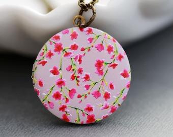 Personalized Necklace ,Personalized Locket,Brass Locket,Cherry Blossom Flowers Locket,Wedding Necklace,Red Poppy Flower