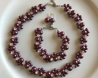 Burgundy pearl bridal set, burgundy pearl flower necklace,bridal necklace, bridesmaid necklace, wedding necklace