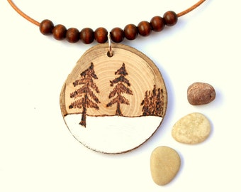 Wood necklace  forest snow winter
