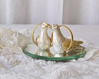 Vintage Wedding Cake Topper Love Birds Mirrored Pewter Cake Topper 1970s Wedding Keepsake Centerpiece