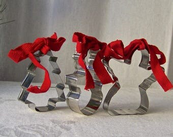 Vintage Cookie Cutters Set of Three Red Ribbon Ornaments Snowman Angel Christmas Tree Ornaments 1990s