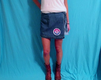 Levi's Vintage Denim Skirt Texas Rangers Game Day Skirt Shorts Repurposed Jeans