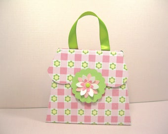 10 Shabby Chic Pink White Green Purse Handbag with Butterfly Party Favor Boxes - Girl Birthday Party- Baby Shower - Bridal Shower - Gift Box