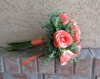 Succulent Bridesmaid Bouquet, Rose and Succulent Wedding, MADE TO ORDER, Coral Bouquet, Seeded Eucalyptus, Coral and Sage Wedding