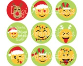 Christmas Emoji Bottlecap Images Christmas Bottle Cap Images for Hairbows Jewelry Magnets-Christmas Emoji Bottle Cap Images INSTANT DOWNLOAD