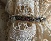 """James Avery Retired 14kt & Sterling Silver """"Hearts and Flowers"""" Bangle Bracelet"""