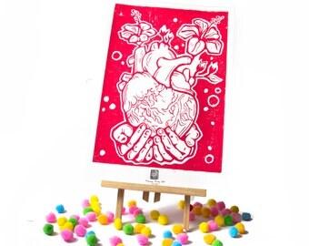 LINOCUT PRINT- anatomical HEART and flowers- artistic print- linogravure