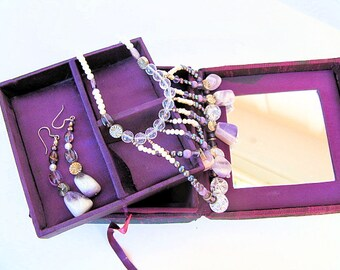 Amethyst Set: Cascade Necklace and  Dangle Earrings, Amethyst and Crystal Beads and Pearls with Matching Box