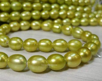 Lime Green AA Grade High Luster 7 x 8 to 9 mm Large Hole Freshwater Pearl Rice Beads - 1.6 mm hole 15.5 inch (ET3355NW39)