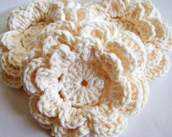 Crochet Flowers - 3 Large, Layered Cream Crochet Flowers - All Cotton Yarn