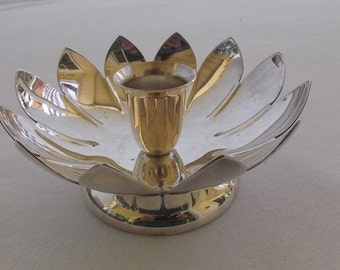 Vintage Silver Plate Candle Holder, Flower Shaped Candle Holder, Reed and Barton
