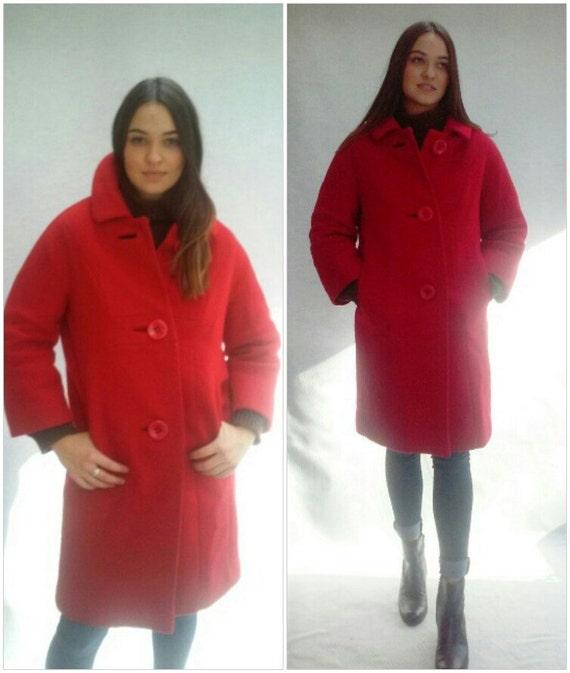 vintage modern minimalist Red Wool Coat,  Maison Couture Paris New York