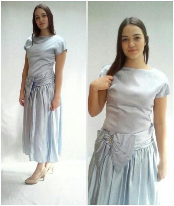 Blue SATIN dress / 80s prom Dress / Metallic dress / TULLE / s / m /