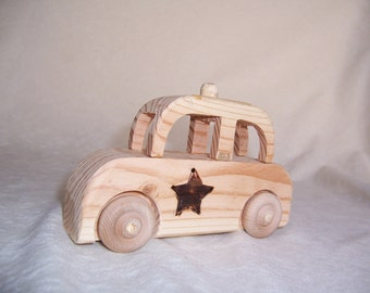 Toy Sheriff''s Car Handcrafted from Recycled Pine for the Kids