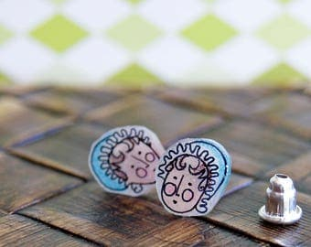 Tiny Charlotte Bronte, Illustrated Hand-Made Stud Earrings