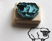 Sheep stamp, hand carved, wood mounted