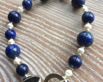 Lapis Lazuli and fresh water pearl Bracelet UK made