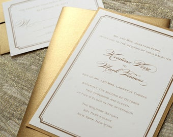 Gold Wedding Invitations, Gold Foil, Gold Invitations, Printable Wedding, Foil Invitations, Traditional Wedding, Formal Wedding
