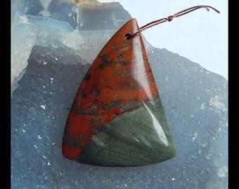 Natural Jasper Gemstone Triangle Pendant Bead,45x34x6mm,13.07g(c0793)