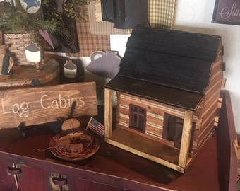 Primitive Log Cabin with a porch,  hand made Log Cabin