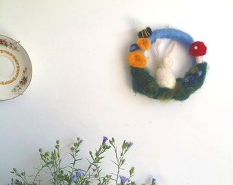Rabbit Children Medium Wreath/ Wall hanging toadstools bees