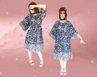 Bohemian Gypsy Dress - Short Gypsy Dress - 70s Vintage Boho Dress - Light Cotton Dress - Hippie Boho Peasant Dress - Dress with POCKETS