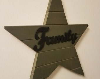 Rustic Wood Family Star Wall Sign