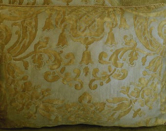 Single Mariano Fortuny Cotton Fabric Custom Designer Throw Pillow Metallic Carnavalet Old Gold New