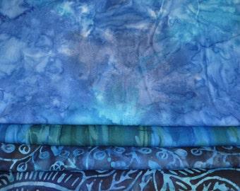 Blue Batik Moda Over the Rainbow by Laundry Basket Quilts Horizon Fat Quarter Bundle