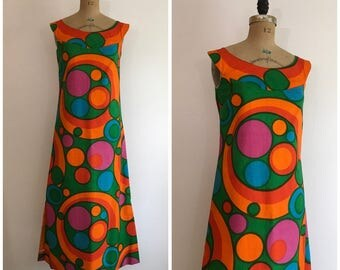 Vintage 1960s 1970s Trez Temtous Dress 60s 70s Mod Op Art Maxi Dress