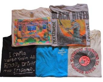 5 Vintage Shirts Size Medium Distressed 80's 90's Shirt Lot