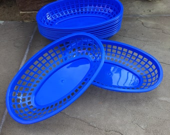 BLUE Food Baskets, Food Tray, Party Baskets, Use for Party, Picnic, BBQ, Events
