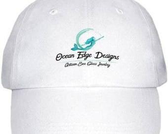OCEAN EDGE DESIGNS Artisan Sea Glass Jewelry Mermaid Logo Hat