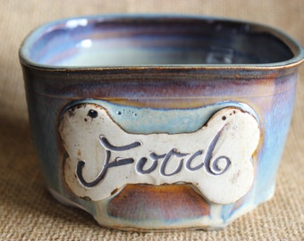 Seconds, Ceramic small dog food bowl, Pottery, ready to ship