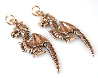 Copper Dragon Charms, Copper Dragon Pendants, Copper Dragon Beads, (2) Copper P0006