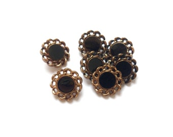 7 Black & Copper Vintage Buttons