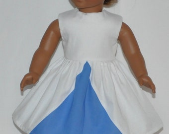White and Blue Doll Dress Made To Fit 18 Inch American Girl Doll Clothes