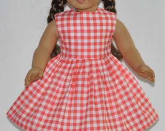 Reddish Gingham Doll Dress Made To Fit 18 Inch American Girl Doll Clothes
